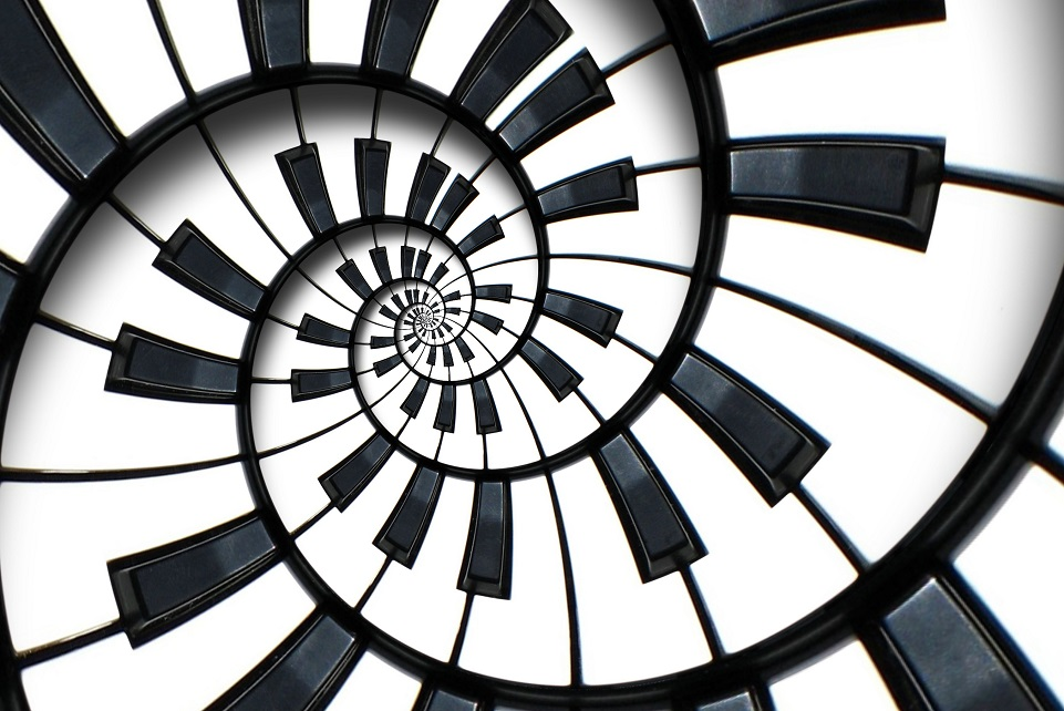Piano keyboard printed music abstract fractal spiral pattern background. Black and white piano round spiral. Spiral Piano helical pattern abstract background Abstract piano spiral effect. Staircase